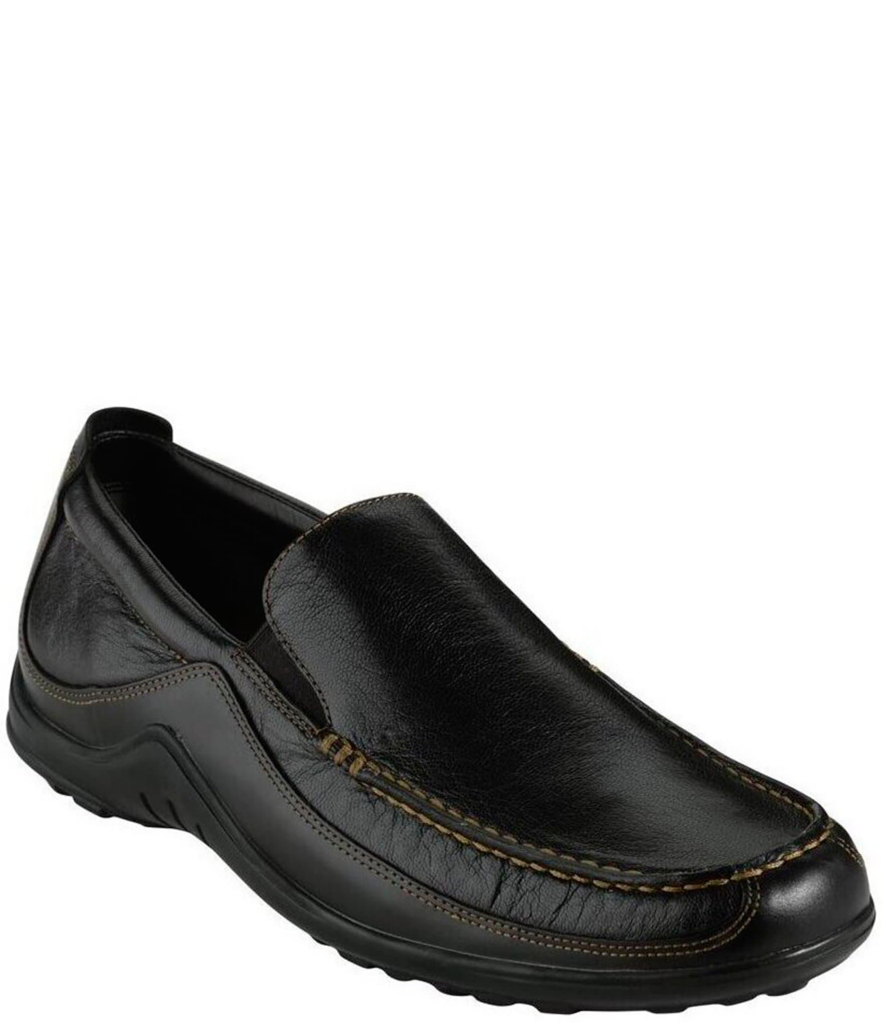 Mens Black Leather Slip On Shoes
