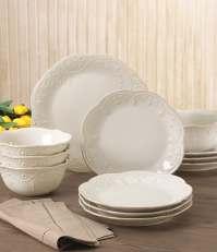 Lenox French Perle Scalloped Stoneware 12-Piece Dinnerware ...
