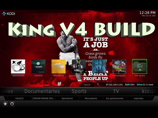 Kodi King V4 Custom Build, Sports, Movies, TV, Docs, Kids, Music & XXX Adult