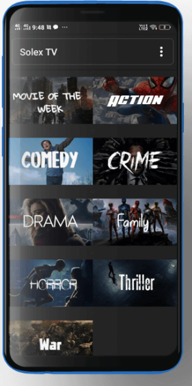 Solex TV Apk on Smartphone