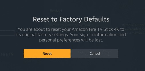 Reset Fire Stick Fire TV Factory Defaults