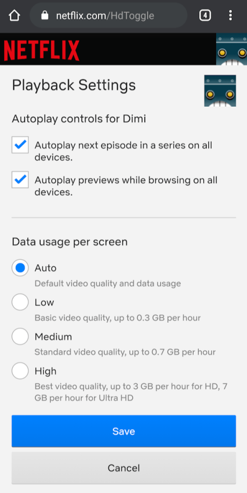 Disable Autoplay On Netflix Android app