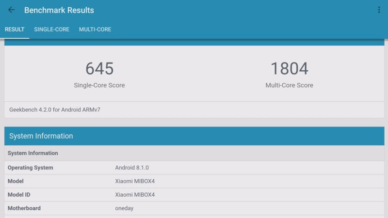 Xiaomi Mi Box S 4K HDR Android TV Box GeekBench Benchmark