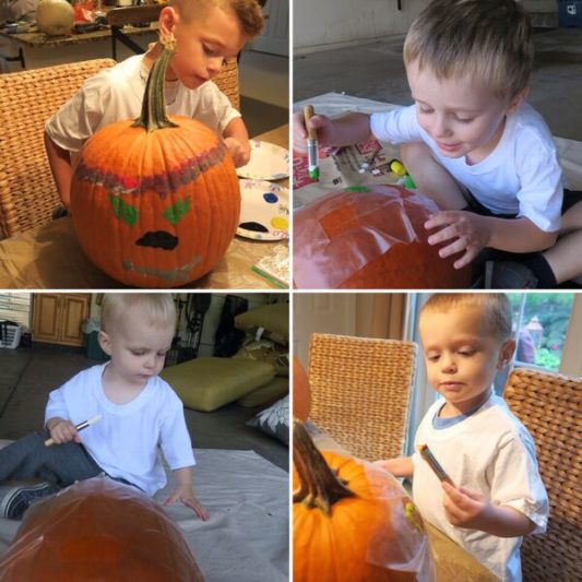 Pumpkin painting with Littles of all ages
