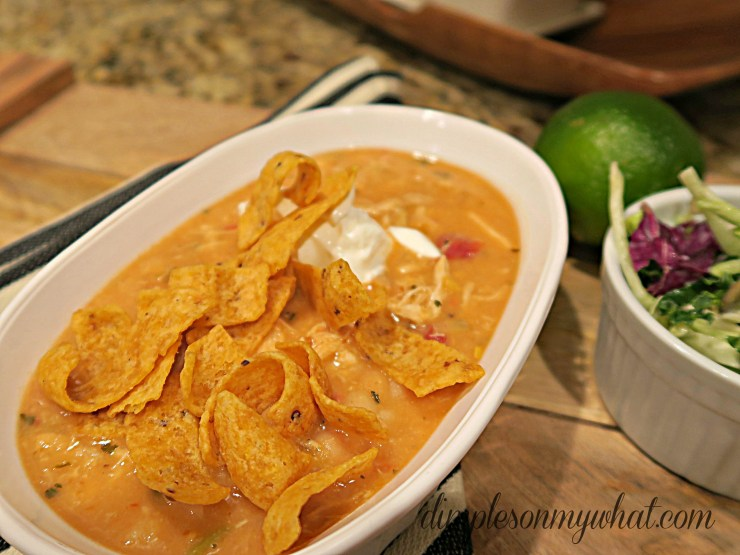 Fritos are the perfect add-in in this 4 indgredient chicken chili