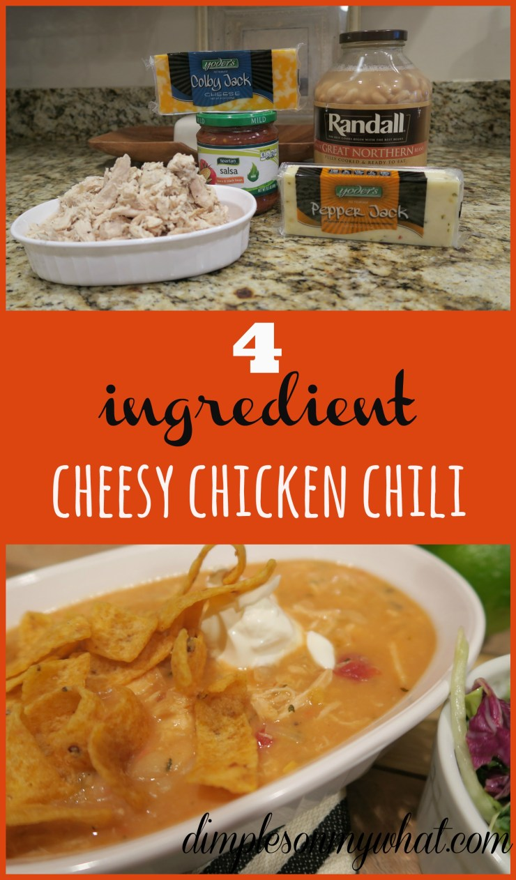 4 ingredient cheesy chicken chili - dimplesonmywhat.com