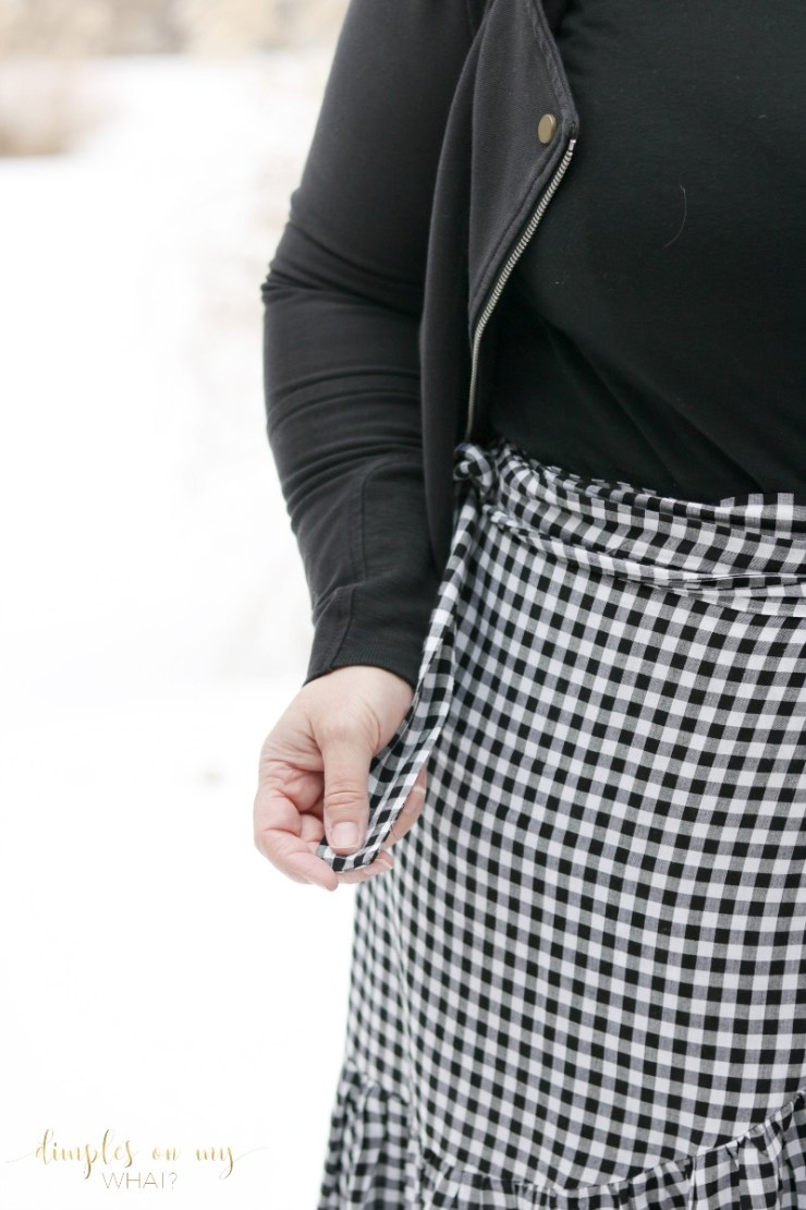 Gingham Wrap Skirt \ Fashion over 50 \ Fashion for curvy women