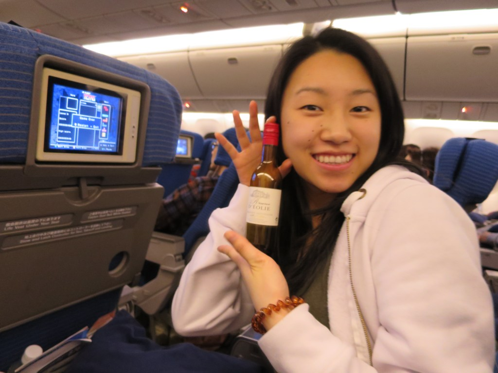 On flight: Me and wine, and playing Tetris