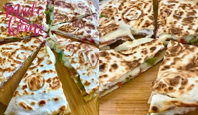 Τορτίγιες με λαχανικά, σαλάμι αέρος και τυριά