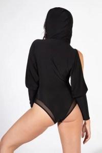 Black Split Sleeve Hooded Kylie Bodysuit Back