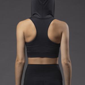 Dincwear Dancewear Black Pro Hooded Sports Bra