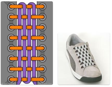 cara mengikat tali sepatu keren unik mudah dan gaul Checkerboard Lacing