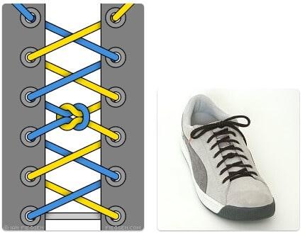 cara mengikat tali sepatu keren unik mudah dan gaul Knotted Segment Lacing