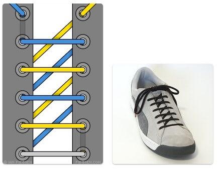 cara mengikat tali sepatu keren unik mudah dan gaul Sawtooth Lacing