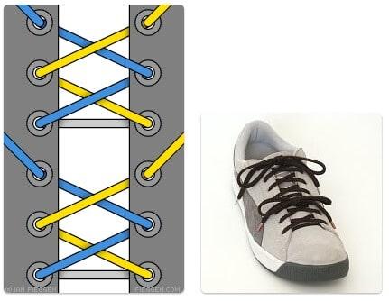 cara mengikat tali sepatu keren unik mudah dan gaul Segmented Lacing