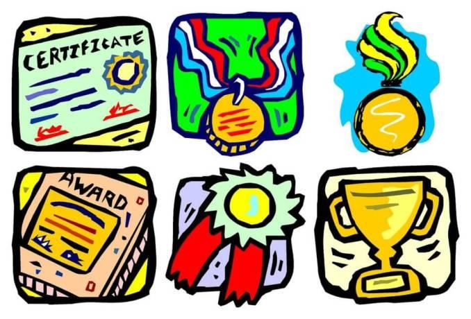 gambar kartun sertifikat piala dan penghargaan prestasi