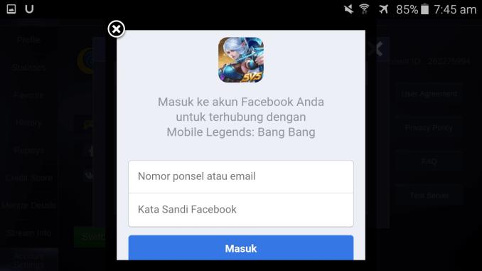cara menghapus akun mobile legend profile level max cewek cantik bendera jepang connect dan dissconnect akun facebook note agree login facebook