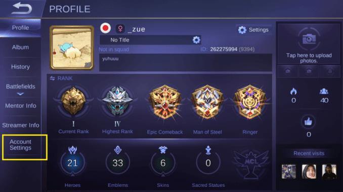 cara mengganti akun mobile legend, profile