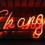 tulisan change lampu neon warna orange
