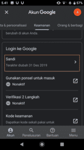 cara ganti password di hp dan pc secara berkala, menu keamanan akun gmail