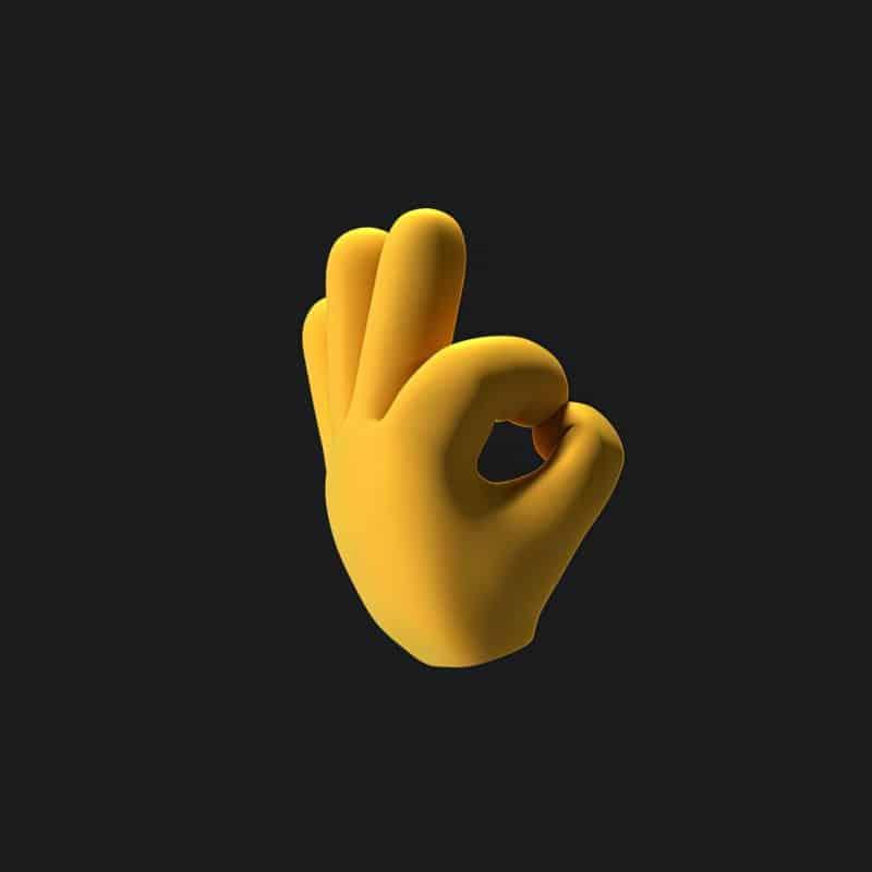 foto keren untuk profil whatsapp instagram telegram tiktok facebook line 3D vector tangan kuning menyatukan jari telunjuk dan jempol membentuk isyarat oke, latar belakang hitam