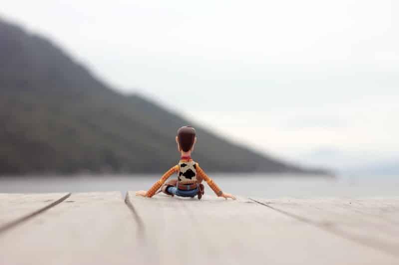 foto keren untuk profil whatsapp instagram telegram tiktok facebook line karakter kartun miniatur woody toys story duduk di tepi pantai melihat ke arah laut