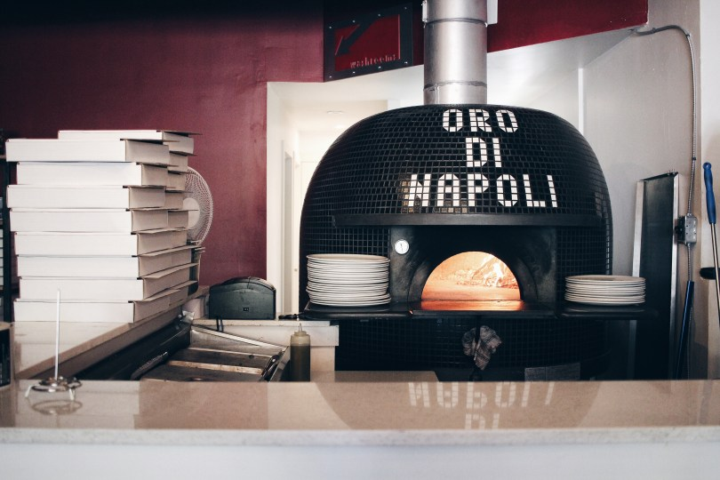 The custom made wood burning pizza oven