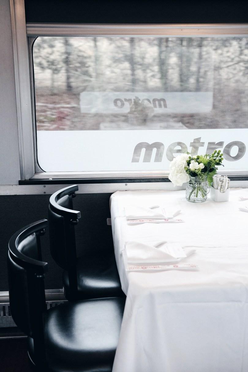 Inside the Glenfraser dining car on the Via Rail #JunoExpress