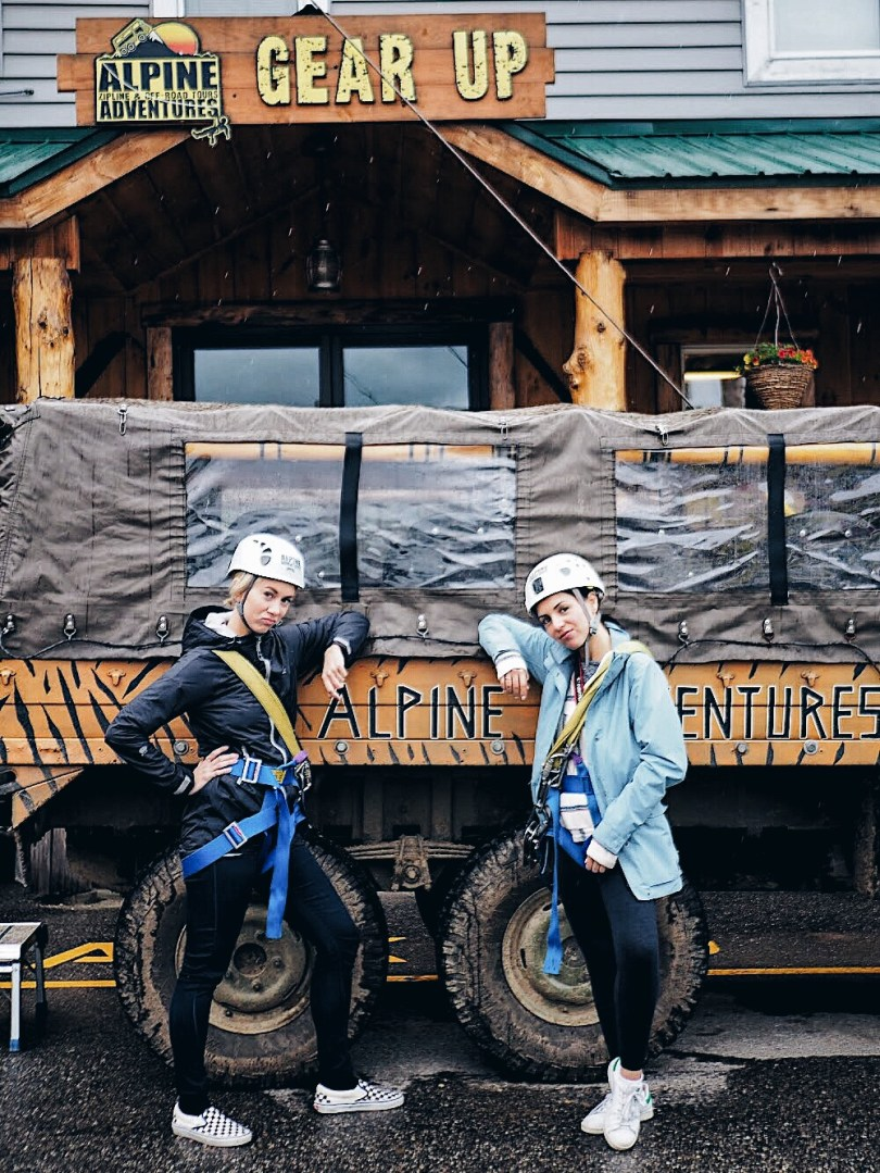 Jeanne and Ver gangsta leaning at Alpine Adventures
