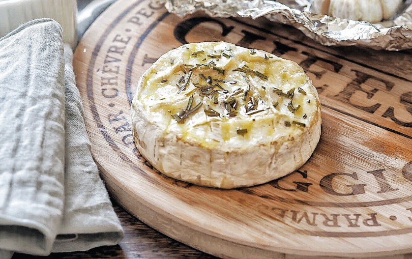 Baked Comox Camembert with rosemary, garlic and olive oil