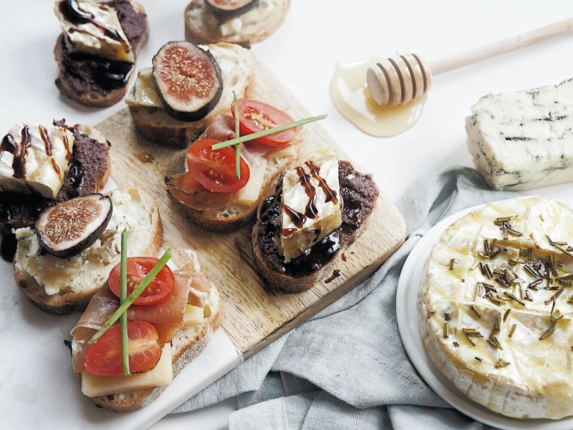 Olive tapenade and Camembert with fig glaze