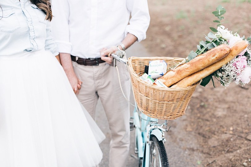Strolling with our bike, baguette and Boursin cheese