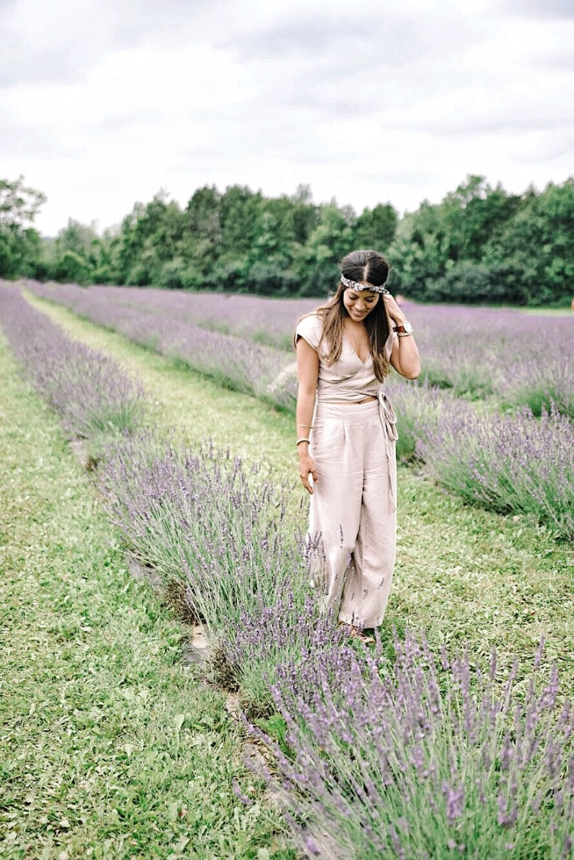 Walking amongst the French Lavender at Terre Bleu