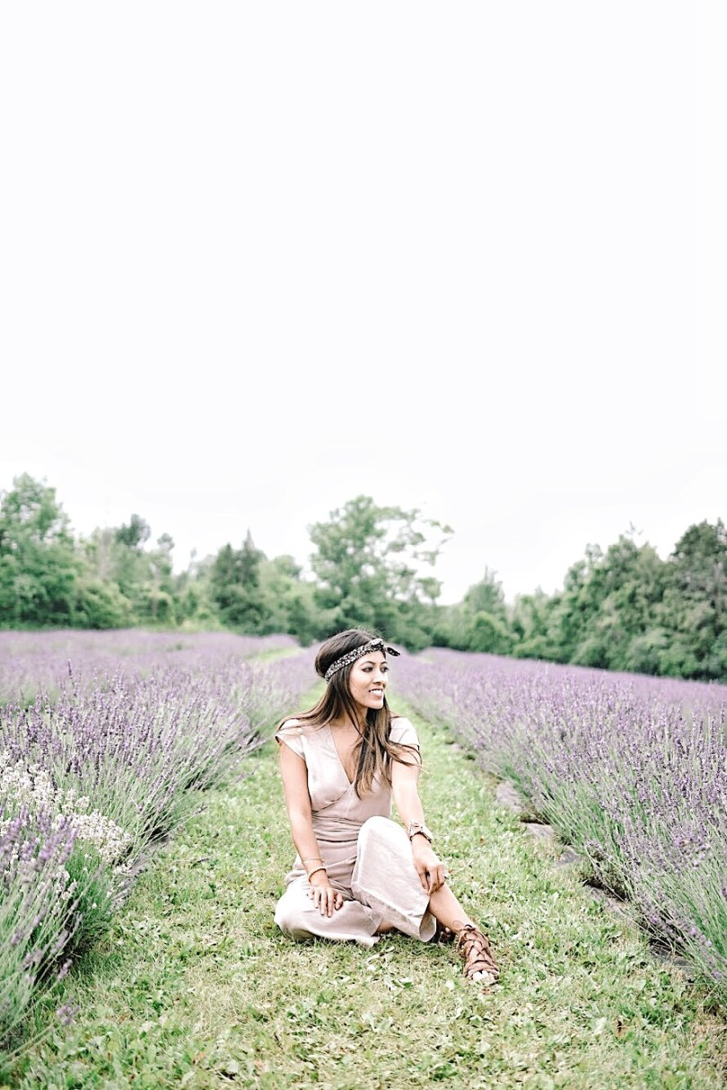Sitting in the lavender fields