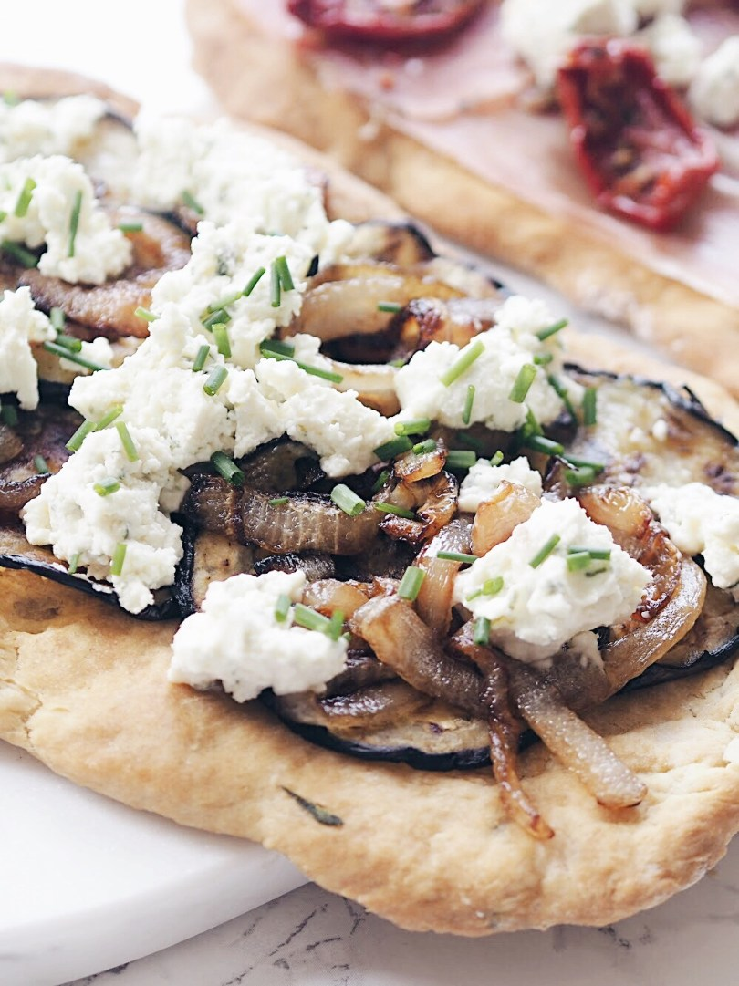 Close up of Italian flatbread with Boursin cheese