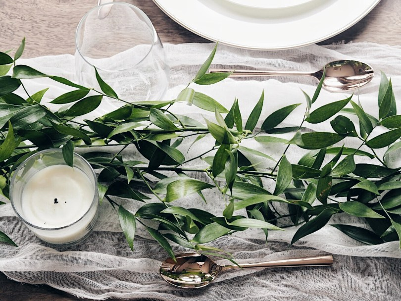 Italian ruscus on a table setting