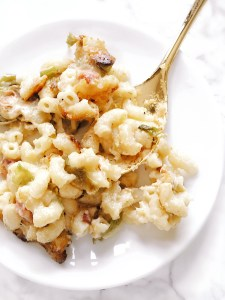 Delicious mac and cheese with brussels sprouts