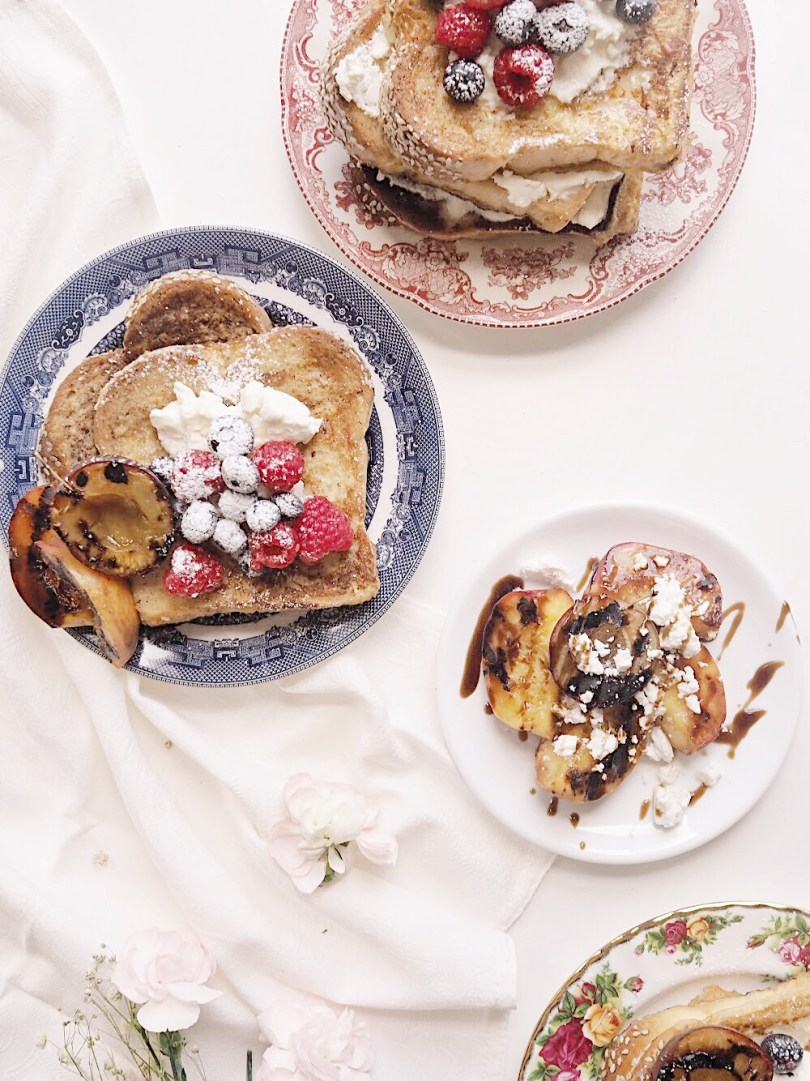 Delicious challah french toast with grilled nectarines and plums