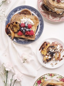 Challah French toast with blueberries and raspberries