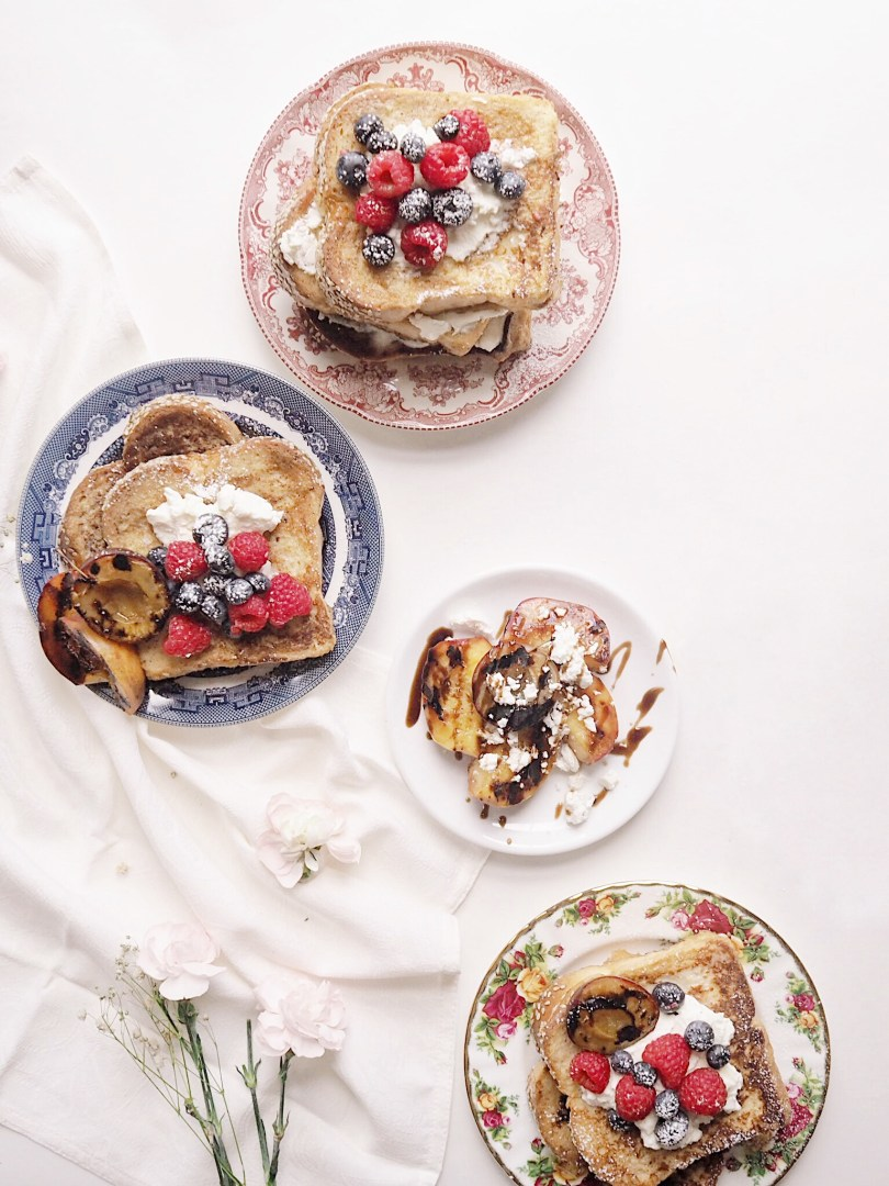 French toast served on pretty vintage plates