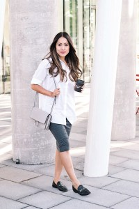 White button-down shirt and grey pencil skirt