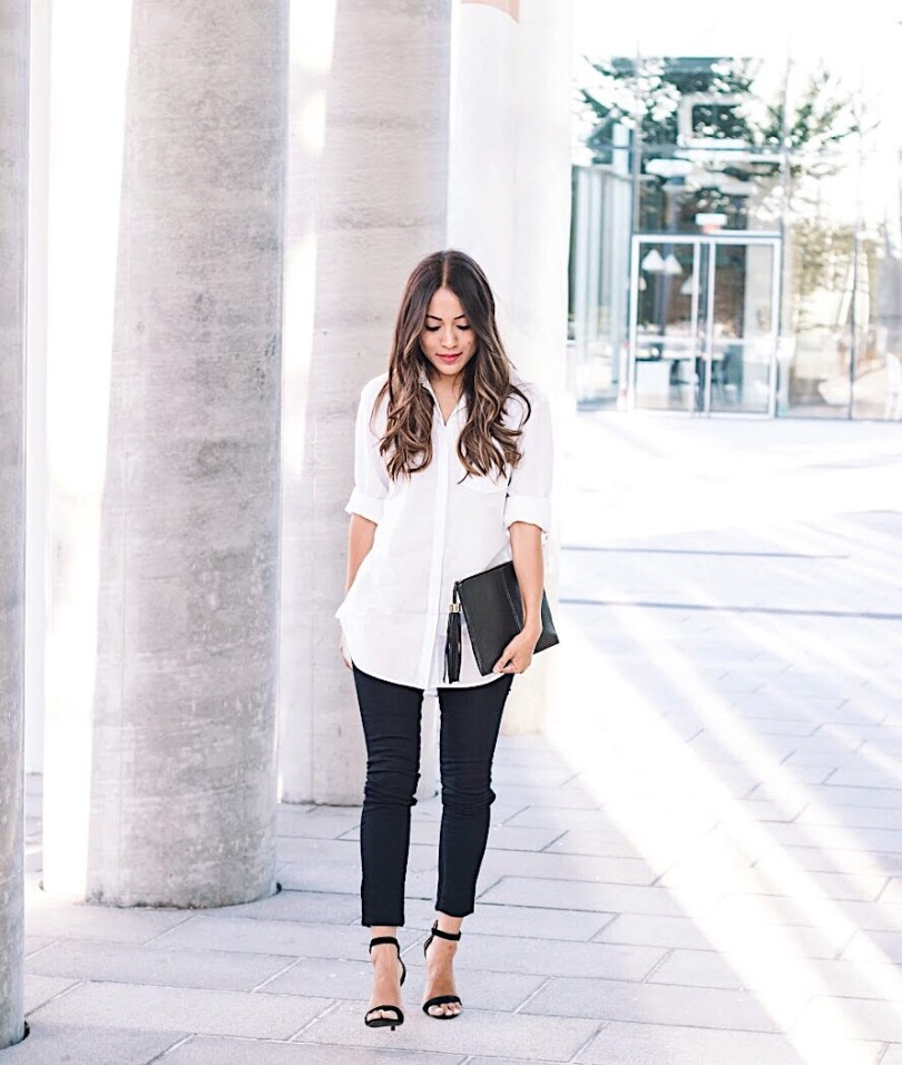 White button-down shirt with skinny jeans