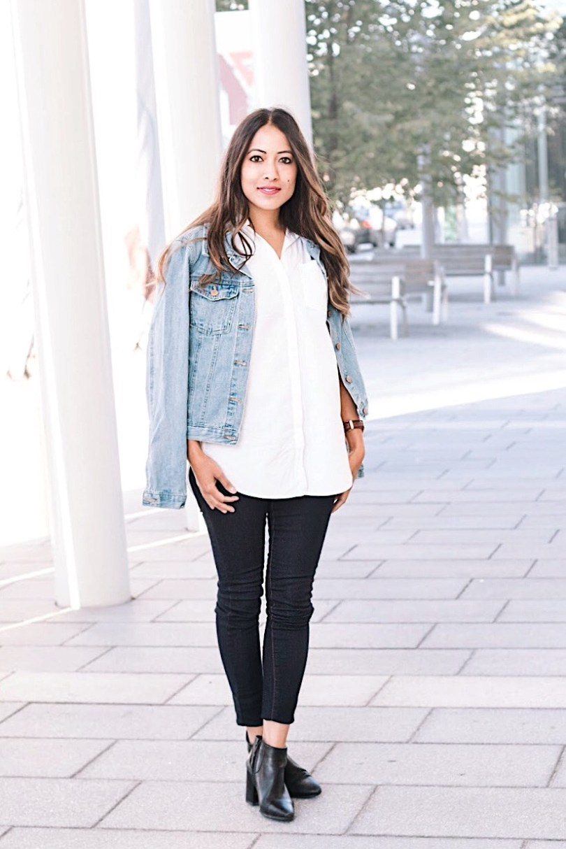 Adding a denim jacket and booties to change the look