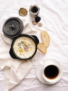 Eggs en cocotte with sourdough bread and coffee for a perfect morning!
