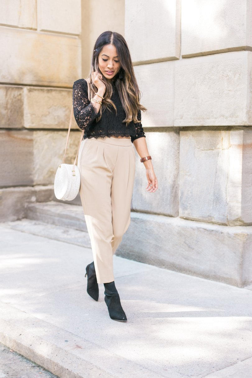 Babaton cohen pant with Aritzia lace top with Zara sock boots