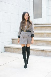 plaid blazer with boots