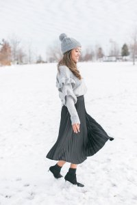 Twirling in skirt