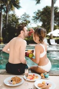 Eating fruit at the Zen pool