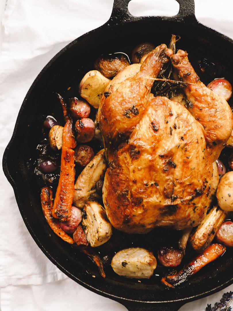 Roast chicken in a cast iron skillet