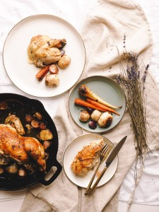 Roast chicken with root vegetables made in the same cast iron skillet